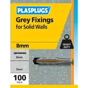Grey Solid Wall Fixings x 100