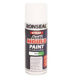 Ronseal Quick Drying Anti Mould Paint White Matt Aero - 400ml