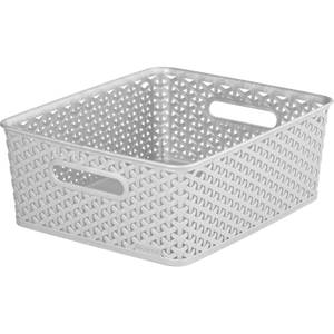 Curver My Style Medium Rectangular Plastic Storage Basket - Grey - 13L