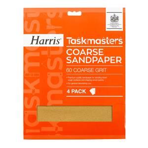 Harris Taskmasters Coarse Sandpaper - 4 Pack