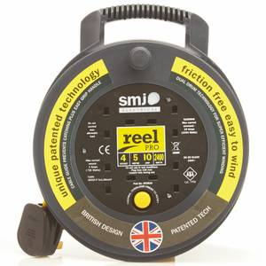 SMJ Reel Pro 4 Socket Cable Reel 5m Black