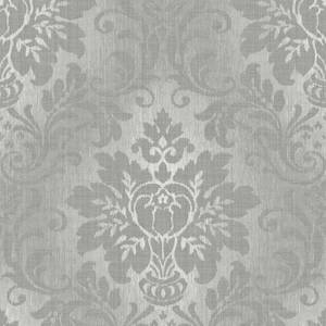 Grandeco Fabric Damask Silver Wallpaper