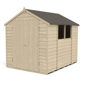 8x6ft Forest Overlap Pressure Treated Apex Shed - Double Door - incl. Installation