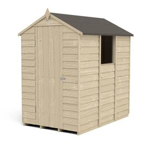 6x4ft Forest Overlap Pressure Treated Apex Shed incl. Installation
