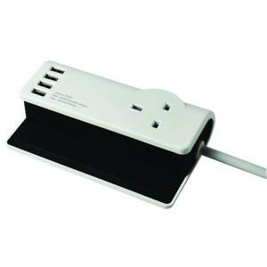 SMJ 1 Socket 4 USB Desktop Charging Station 1.4m Black/White