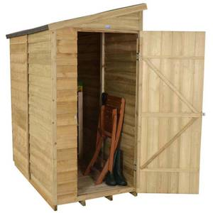 6x3ft Forest Wooden Overlap Pressure Treated Pent Shed -incl. Installation