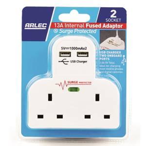 Arlec 2 Socket and 2 USB Surge Adaptor White