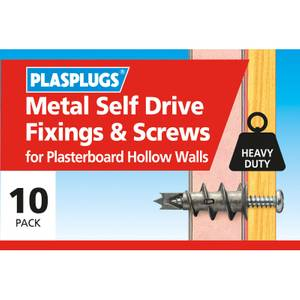 Plasplugs Metal Self Drive & Screws - 10 Pack