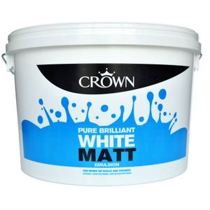 Crown Pure Brilliant White - Matt Emulsion Paint - 10L