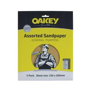 Oakey General Purpose 100 Grit Sandpaper - 5 Sheets