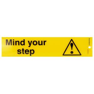 Self Adhesive Mind your step Sign - 245 x 58mm