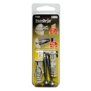 Cobra Triple Grip - Multi Purpose Wall Fixings x 2 - 173SE