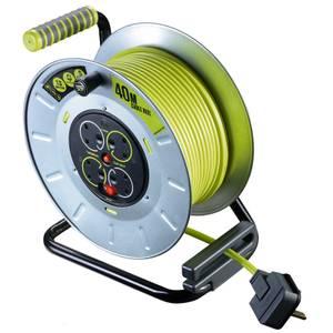 Masterplug Pro XT 4 Socket Cable Reel 40m Green/Grey