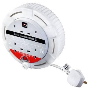 Masterplug 4 Socket Cassette Reel 4m White