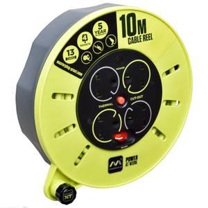 Masterplug Pro XT 4 Socket Cassette Reel 10m Green/Grey