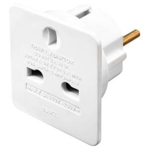 Masterplug UK to Euro Travel Adaptor White 2 Pack