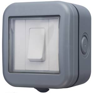 BG 10 Amp 1 Gang 2 Way Weatherproof Switch IP55 Rated Grey