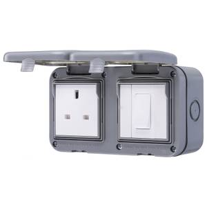 BG 10 Amp 1 Gang 2 Way Weatherproof Switch & 13 Amp 1 Gang Weatherproof Socket IP55 Rated Grey