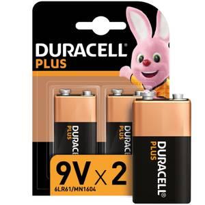 Duracell Plus 9V Batteries - 2 Pack
