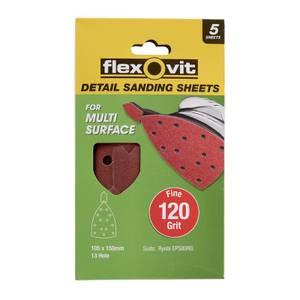 Flexovit Detail All Surface Detail Sandpaper - 105 x 150mm - 120 Grit - Fine