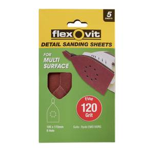Flexovit Detail All Surface Detail Sandpaper - 105 x 175mm - 120 Grit - Fine