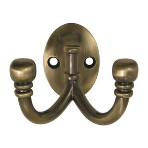 Ball End Double Robe Hook - Antique Brass
