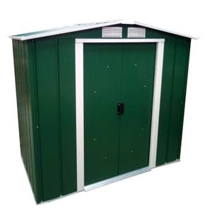 6x4ft Sapphire Apex Metal Shed Green
