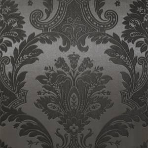 Belgravia Decor Damasco Damask Embossed Metallic Black Wallpaper