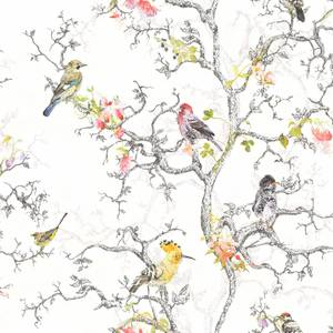 Holden Decor Ornithology Birds Tree Smooth Metallic Multi Coloured Wallpaper