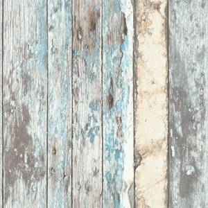 Grandeco Rustic Wood Teal Paste the Wall Wallpaper