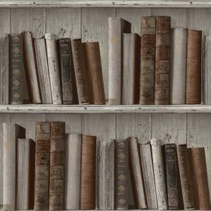 Grandeco Books Neutral Paste the Wall Wallpaper