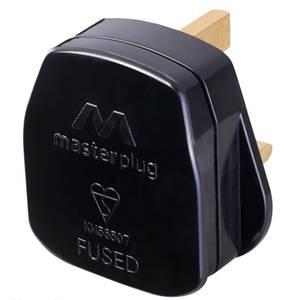 Masterplug 13A Rewirable Plug Socket Black