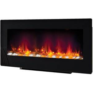Be Modern Amari Wall Mounted Electric Fire - Black Glass