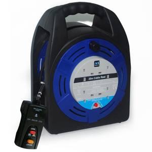 Masterplug 4 Socket Cable Reel 20m Black/Blue