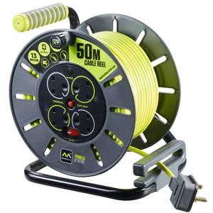Masterplug Pro XT 4 Socket Cable Reel 50m Green/Grey