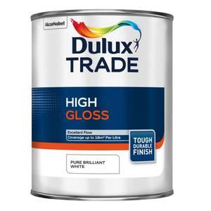 Dulux Trade Pure Brilliant White Gloss Paint - 1L