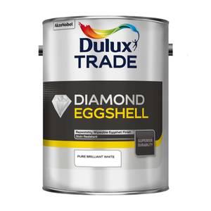 Dulux Trade Diamond Eggshell Pure Brilliant White Paint - 5L