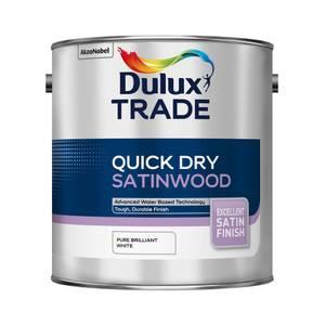 Dulux Trade Satinwood Pure Brilliant White Quick Dry Satin Paint - 2.5L