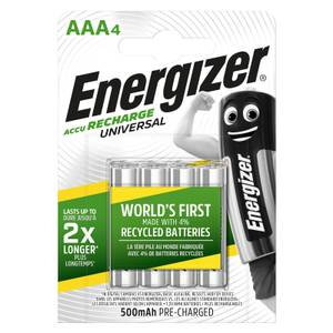 Energizer Universal 500mAh Rechargeable AAA Batteries - 4 Pack