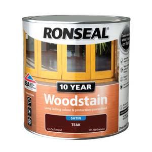 Ronseal 10 Year Woodstain Satin Teak - 2.5L