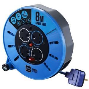 Masterplug Pro XT 4 Socket Cassette Reel 8m Blue