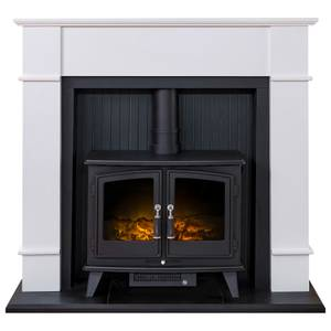 Adam Oxford in White with Woodhouse Electric Stove