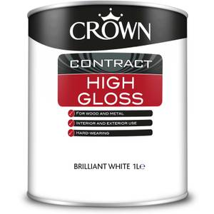 Crown Contract High Gloss Brilliant White Paint - 1L