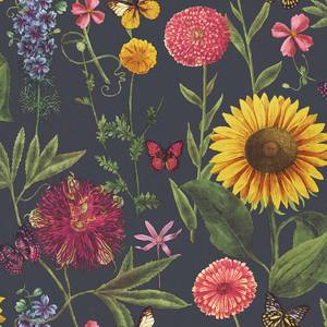 Arthouse Summer Garden Floral Smooth Charcoal Multi Coloured Wallpaper