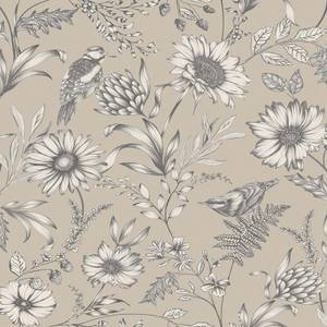 Arthouse Botanical Songbird Floral Smooth Glitter Natural Wallpaper