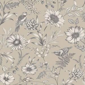 Arthouse Botanical Songbird Floral Smooth Glitter Natural Wallpaper