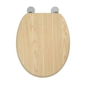 Croydex Geneva Moulded Wood Tongue & Groove Toilet Seat - Oak Effect