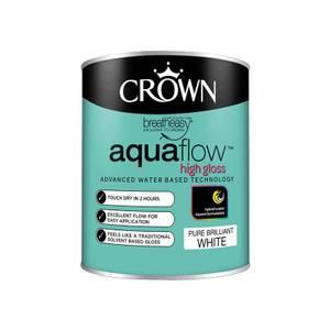Crown Pure Brilliant White Aquaflow Gloss Paint - 750ml