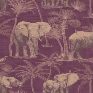 Arthouse Elephant Grove Jungle Embossed Metallic Aubergine Wallpaper