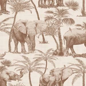 Arthouse Elephant Grove Jungle Embossed Metallic Coffee Wallpaper